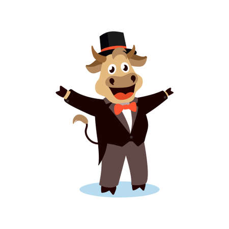 Cute cartoon bull in a tailcoat on a white isolated background. Vector illustration with the symbol of the Chinese New year 2021.