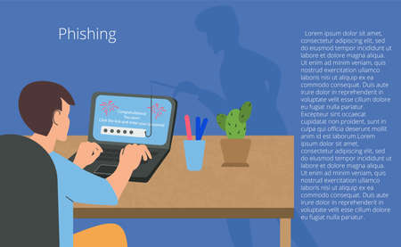 A young man at a computer and an online fraudster. Phishing, Scam, hacker attack and web security concept. Online Scam and theft Vector illustration.