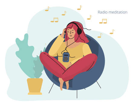 A girl with headphones sitting in a chair. Relaxation and meditation. Vector illustration for banner, flyer, ad