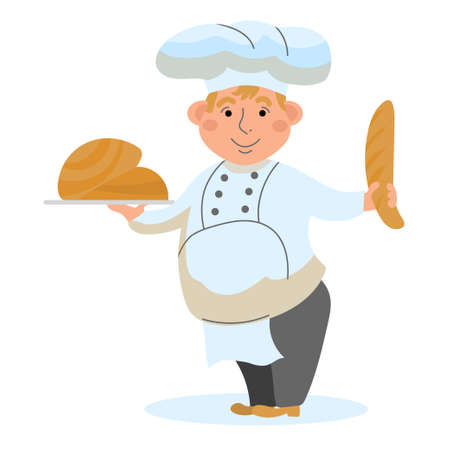 Baker with bakery products on a white isolated background. Vector illustration in the style of the cartoon happy Baker. Male character. Ilustração