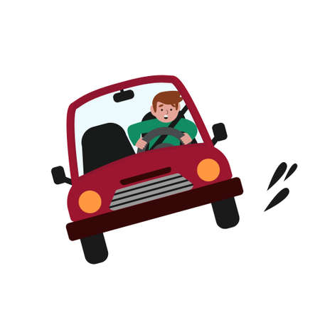 A man driving a car at speed. Vector illustration in cartoon style.