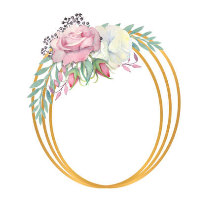 White and pink roses flowers, green leaves, berries in a gold oval frame. Wedding concept with flowers. Watercolor compositions for the decoration of greeting cards or invitations.