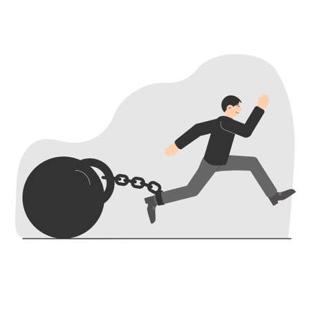 A young man tries to escape with a huge weight on a chain. A symbol of limiting beliefs. Life restrictions. Vector illustration.