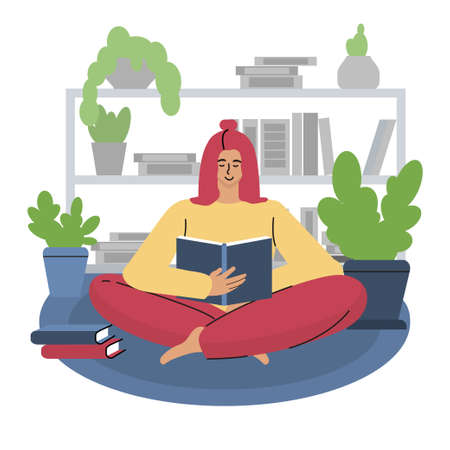 A girl reads a book sitting on a carpet against the background of a bookshelf. Vector illustration.