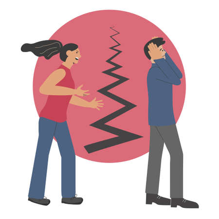 A quarrel between a man and a woman. The wife shouts at her husband. Split in the family. Vector illustration.