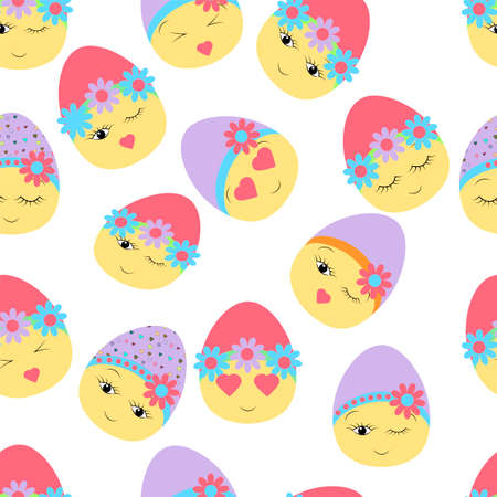 Seamless pattern with Easter decorated eggs. Happy Easter. Festive background. Design for banner, poster or print Vettoriali