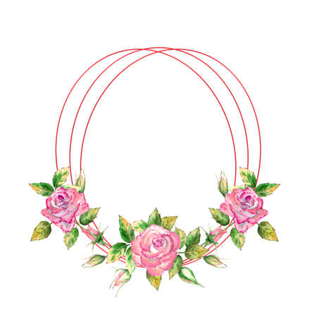 The geometric frame is decorated with flowers. Pink roses, green leaves, open and closed flowers. Delicate watercolor illustration
