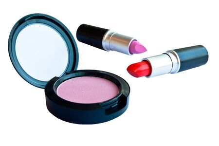 Cosmetics powder and lipstick photo