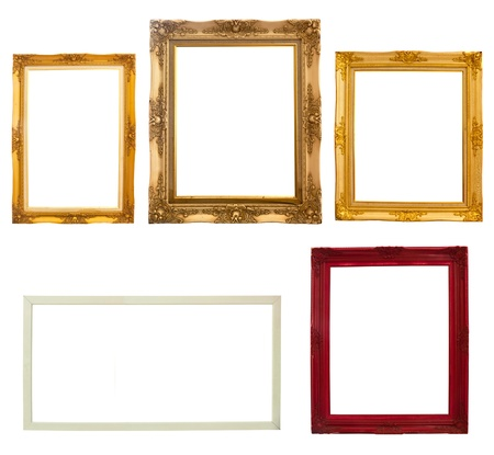 Wooden photo frame collection isolated on white background Stock Photo - 9798753