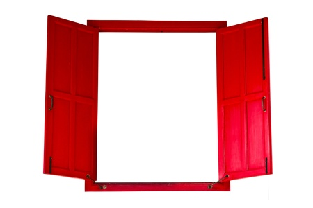 Red wood opened window isolated Stock Photo - 9923157