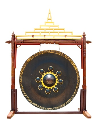 dish disk:  gong in thai temple isolated on white background Stock Photo