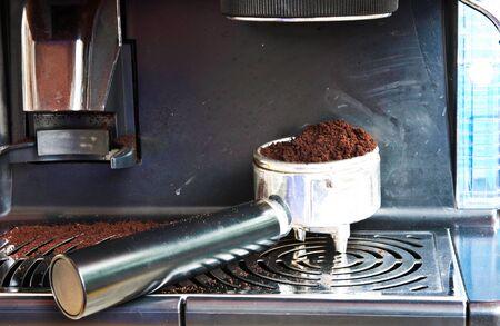 caffee: porta-filter on powder coffee Stock Photo