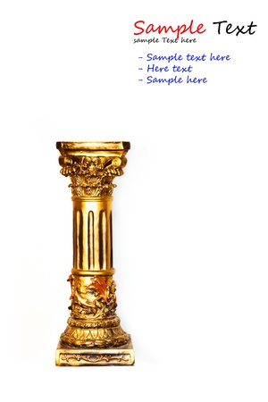 gold column isolated with white background Banco de Imagens