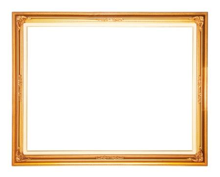 construction frame: Golden frame isolated on white background Stock Photo