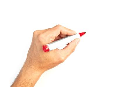 show of hands: Mano con un pennarello isolato su bianco Archivio Fotografico