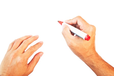 Hands with red marker isolated on white background