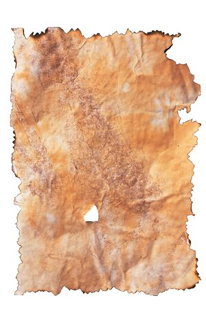 Old Paper with burned edges over white background photo
