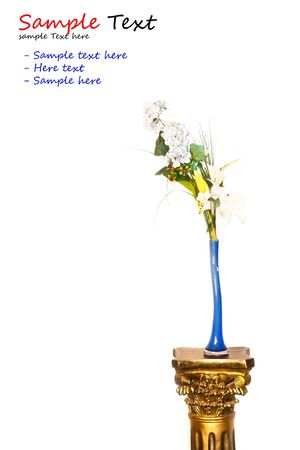 Spring floral bouquet in a blue vase  photo