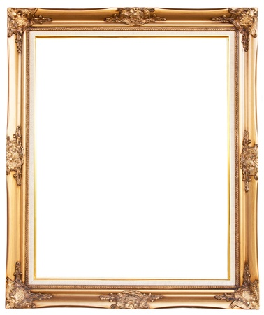 antique frame: old antique gold frame over white background