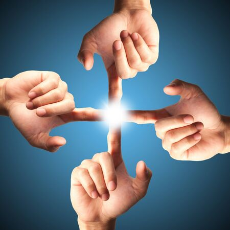 holography: Hands pressing one of interface,technology icon Stock Photo