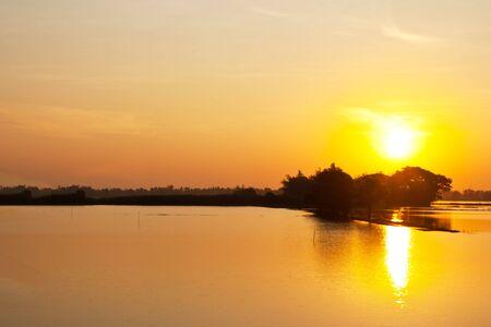flood area: Sunset on flood area,thailand