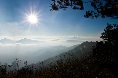 Landscape view of Phu rua mountain,North province of Thailand Banco de Imagens