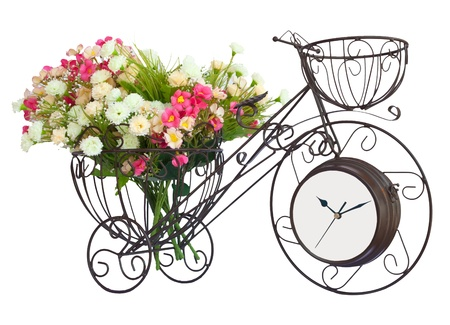 Flower on bicycle watch isolated photo