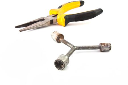 special steel: Wrench and Locking pliers isolated Stock Photo