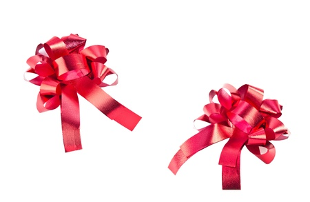 Red gift bow isolated on white  photo