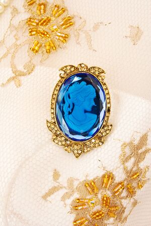 cameo: antique cameo gold brooch Stock Photo