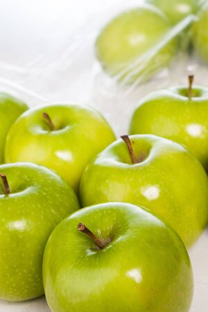 Green apples closeup photo