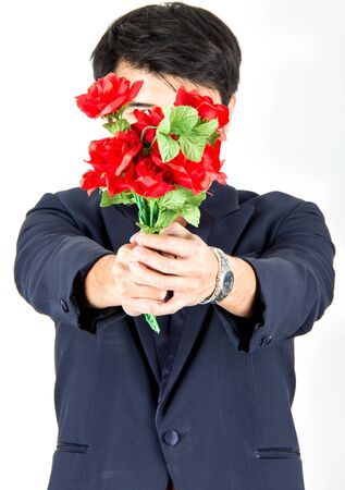 Business man with rose flower,isolated photo