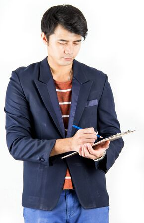 business man writing action on white background  photo