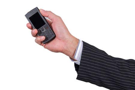 businesman holding phone isolated on white background photo