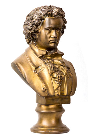 beethoven: A dramatically lit bust of classical composer Beethoven on white background