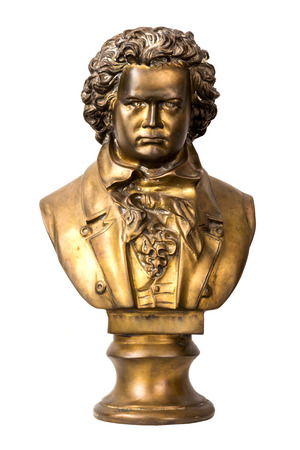 A dramatically lit bust of classical composer Beethoven Banco de Imagens