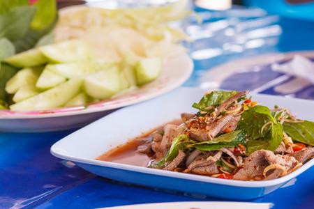 seasoned: Seasoned sliced beef salad at Thailand Restaurant