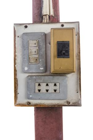 fuse box: old fuse box isolated on white background