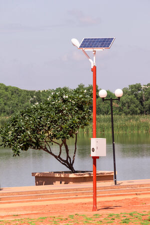 Solar Cell Lamp on sunshine day  photo