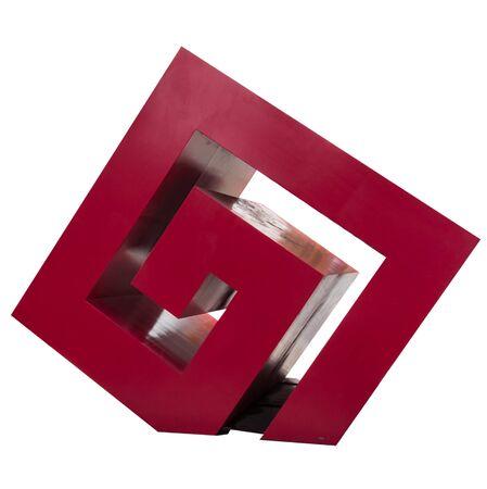 vanishing point: baeuty art red dice on white background