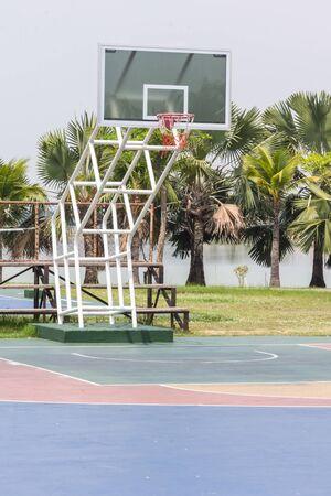 pubic: pubic basketball court in garden Stock Photo