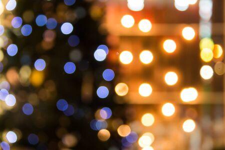 lighting background: Defocused abstract texture bokeh background on night city lighting Stock Photo