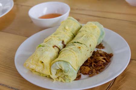 egg roll: delicious vietnam food egg roll wrap insert pork grind vietnam style
