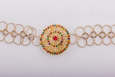 beautiful gold belt isolated white background accesory wedding Stock Photo