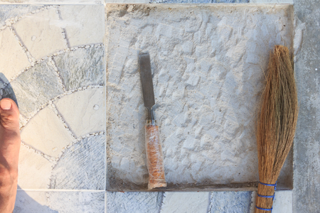 white background cement concret texture unsmooth with chisel and broom