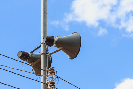 loudspeaker pole on communication in city Stock Photo
