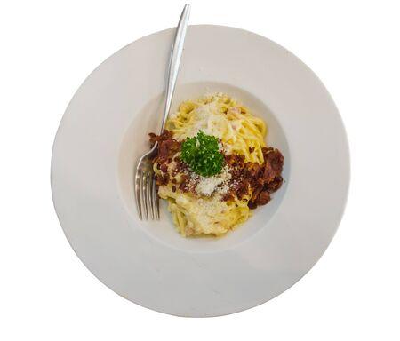 cabonara with ham fried and cheese on white dish Stock Photo