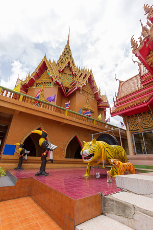 pagodar view of  temple thai call wat tham sue at kanchanaburi province at Thailand
