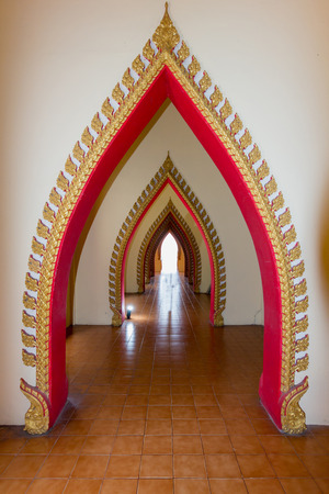 arch of sermon hall in a monastery at Thai temple