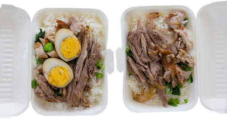 rice with pork leg in container food
